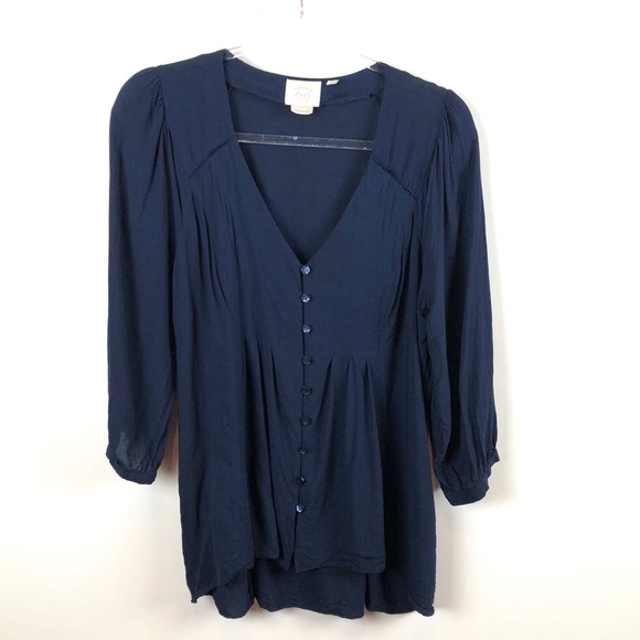 Anthropologie Tops - Anthropologie Vanessa Virginia Navy Blouse 10